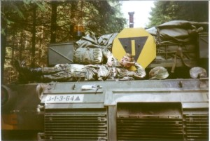 Me on the back deck of a tank, when I guarded the border of East and West Germany